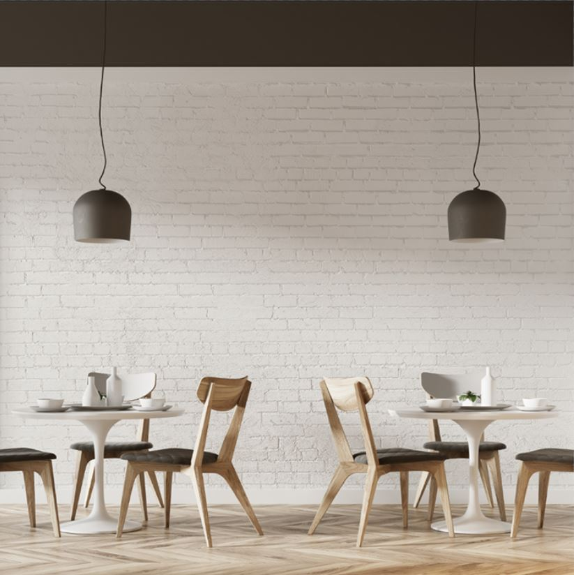 Cafe chairs, tables and hanging lights